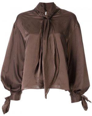 Блузка с бантом - коричневая Le Ciel Bleu