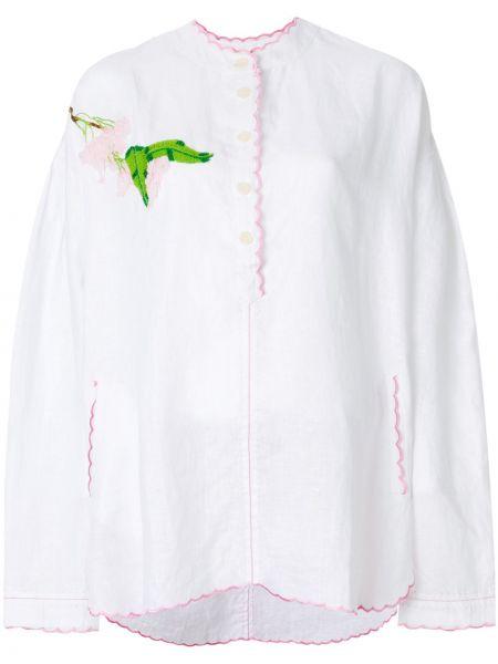 Biała tunika z długimi rękawami z haftem Natasha Zinko
