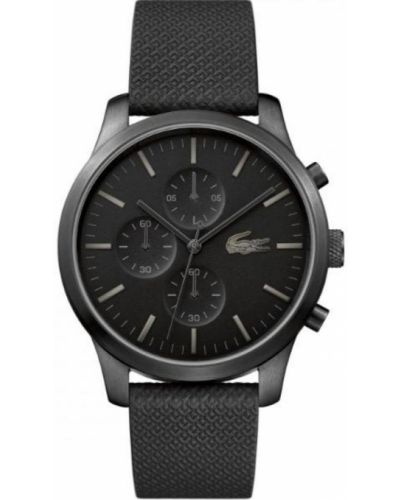 Czarny zegarek na skórzanym pasku skórzany kwarc Lacoste