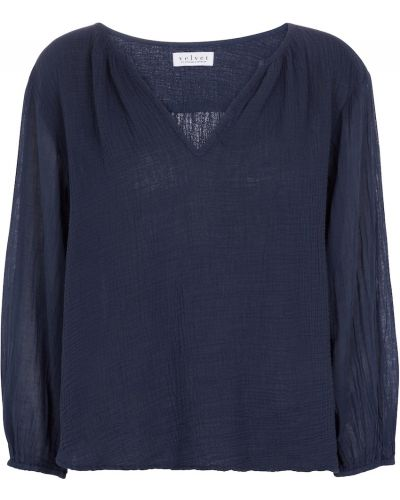 Bluzka z aksamitu - niebieska Velvet