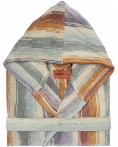 Szlafrok bawełniany z printem z paskiem Missoni