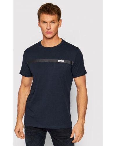 T-shirt granatowa Replay