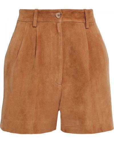 Коричневые замшевые шорты с карманами Nili Lotan