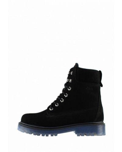 Ботинки из нубука - черные Zlett
