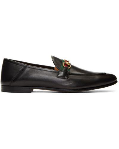 Czarny loafers na pięcie z prawdziwej skóry okrągły Gucci