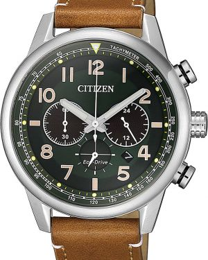 Часы водонепроницаемые с подсветкой с кожаным ремешком Citizen