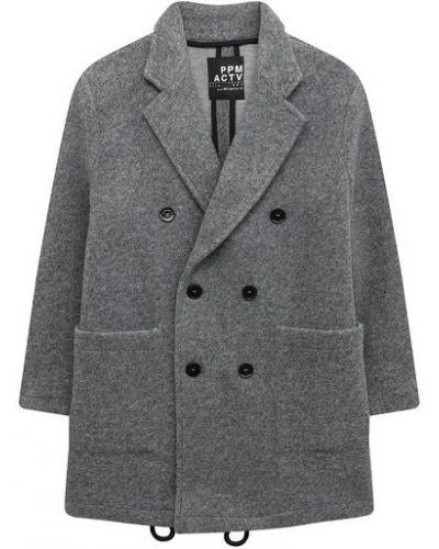 Серое пальто из вискозы с подкладкой двубортное Paolo Pecora Milano