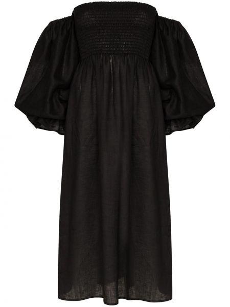 Czarna sukienka elegancka z falbanami Sleeper