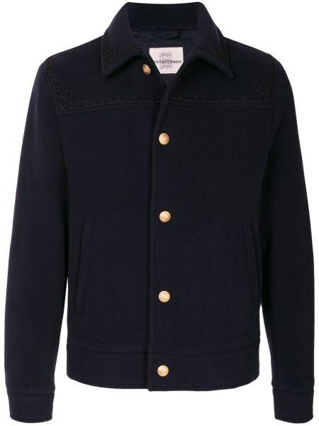 Niebieska kurtka wełniana z haftem Kent & Curwen