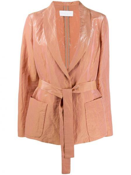 Хлопковый розовый пиджак с поясом Fabiana Filippi