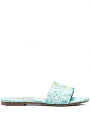 Zielone sandały skorzane płaska podeszwa Emilio Pucci