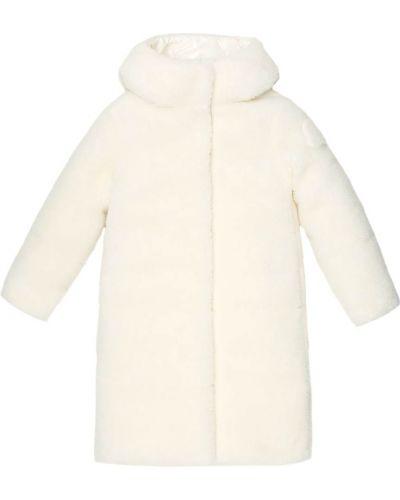 Puchaty beżowy płaszcz Moncler Enfant