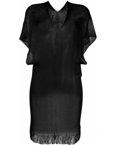 Czarny z rękawami kaftan z dekoltem w szpic Mc2 Saint Barth