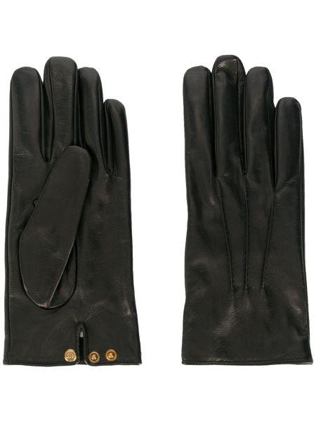 Кожаные черные перчатки на кнопках Gucci