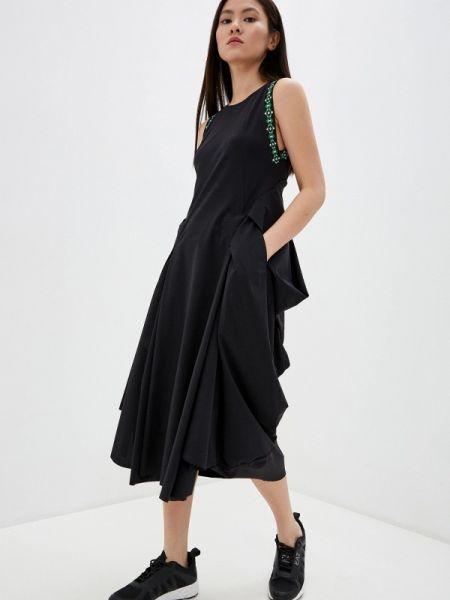 Повседневное платье с завышенной талией черное High