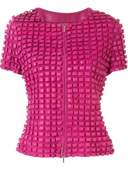 Розовая куртка на молнии круглая с круглым вырезом Emporio Armani