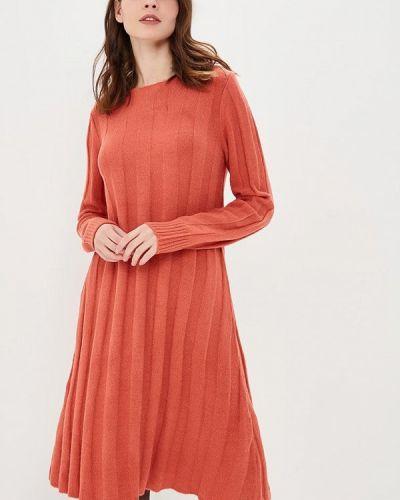 Оранжевое вязаное джинсовое платье Pepe Jeans