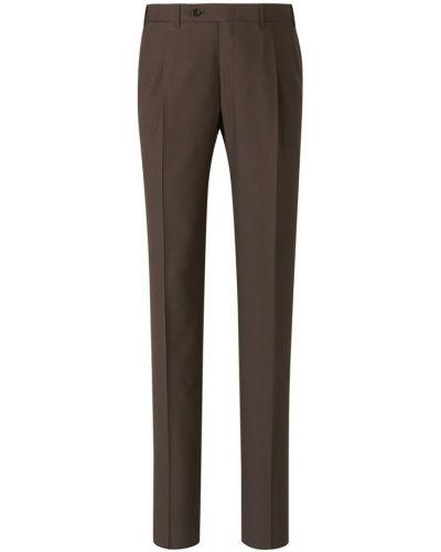 Brązowe spodnie wełniane Canali