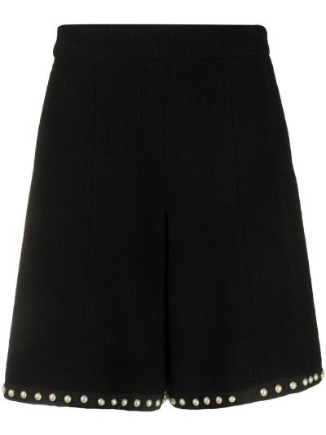 Черные с завышенной талией шорты свободного кроя Chanel Pre-owned
