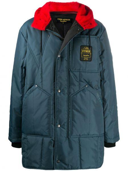 Синее пальто с воротником с заплатками Vyner Articles