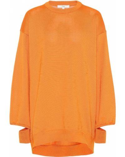 Trykotowy pomarańczowy sweter z dekoltem z mankietami Tibi