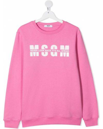 Хлопковая розовая толстовка с надписью Msgm Kids