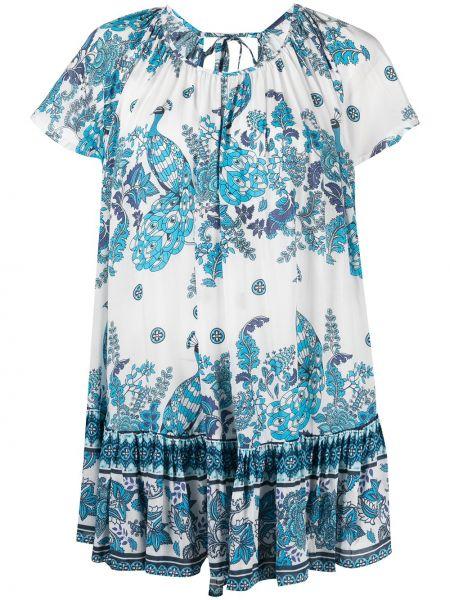 С рукавами белое платье мини в цветочный принт Mc2 Saint Barth