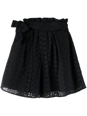 Хлопковые черные с завышенной талией шорты Federica Tosi