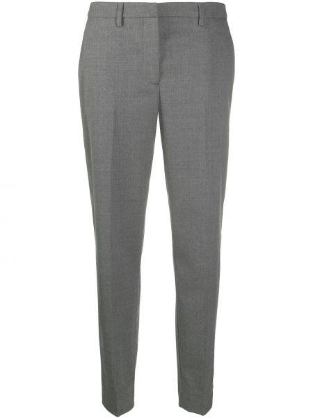 Шерстяные прямые серые брюки Fabiana Filippi