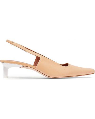 Оранжевые кожаные туфли-лодочки квадратные Rejina Pyo