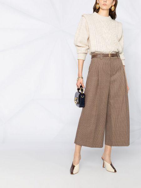 Со стрелками с завышенной талией коричневые укороченные брюки Chloé