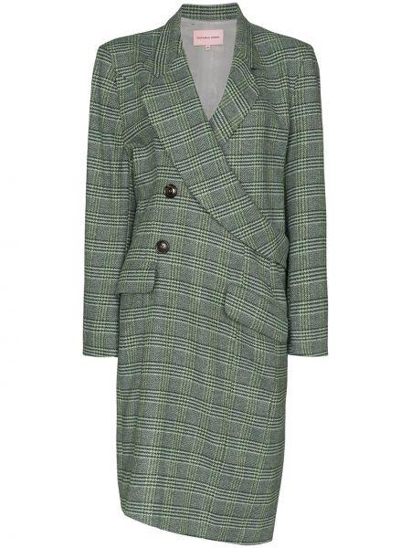 Шерстяное длинное пальто с капюшоном двубортное Natasha Zinko