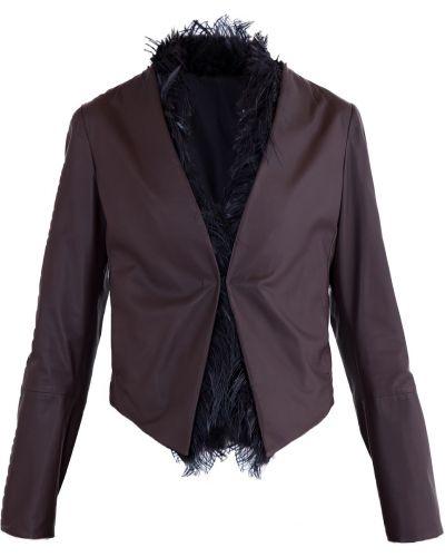 Кожаная куртка свободная с перьями Brunello Cucinelli