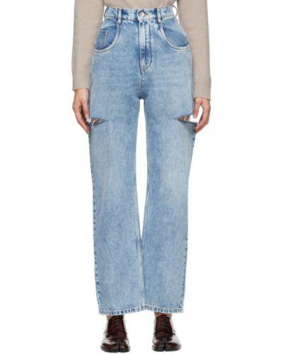 Серебряные широкие джинсы стрейч свободного кроя Maison Margiela