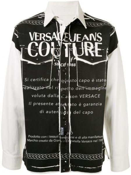 Koszula z długim rękawem dżinsowa z logo Versace Jeans Couture