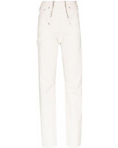 Хлопковые белые прямые джинсы с карманами с заклепками Gmbh