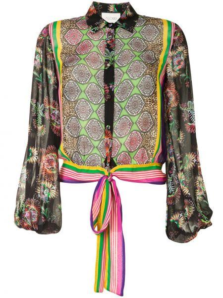 С рукавами блузка с воротником из вискозы с завязками Alexis