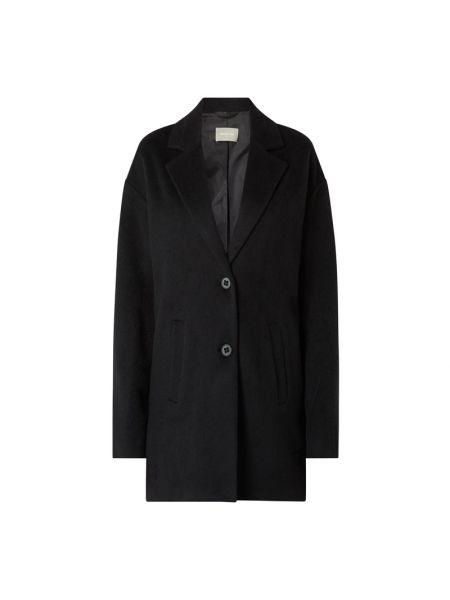 Czarny płaszcz wełniany z bursztynem Amber & June