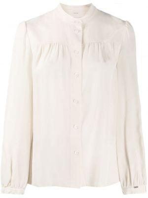 Bluzka z długim rękawem biała jedwabna Calvin Klein
