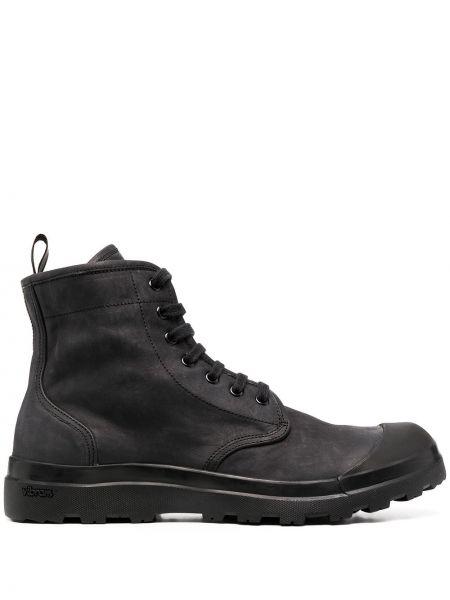 Ażurowy skórzany czarny buty na pięcie zasznurować Officine Creative