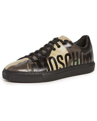 Skórzany koronkowa sneakersy na sznurowadłach okrągły Moschino