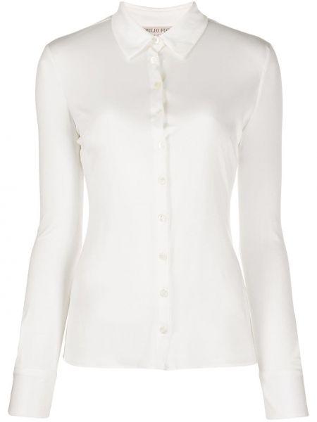 Шелковая с рукавами белая классическая рубашка Emilio Pucci