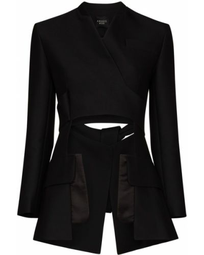 Шерстяной черный удлиненный пиджак с вырезом A.w.a.k.e. Mode