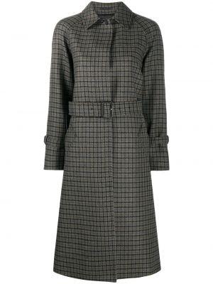 Серое шерстяное длинное пальто в клетку Paul Smith