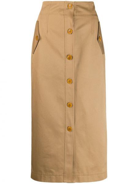 Beżowa spódnica ołówkowa z wysokim stanem bawełniana Givenchy