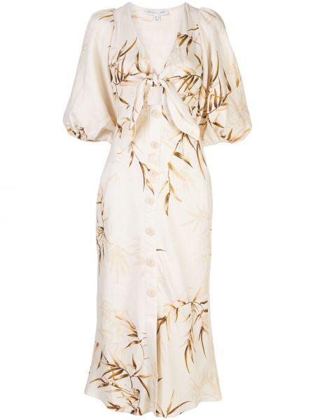 Хлопковое белое платье мини на пуговицах с короткими рукавами Shona Joy
