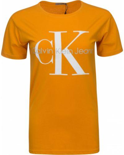 Pomarańczowy bawełna koszula jeansowa okrągły Calvin Klein Jeans