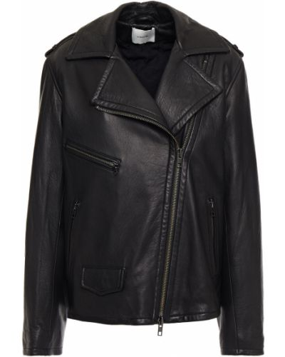 Черная кожаная куртка байкерская Vince