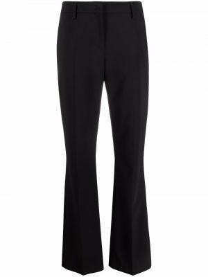 Czarne spodnie z paskiem wełniane Piazza Sempione