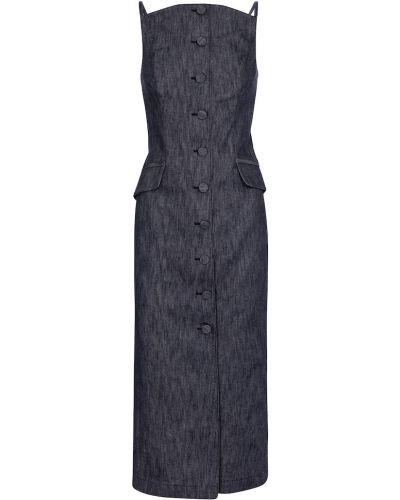 Ватное хлопковое синее платье миди Carolina Herrera